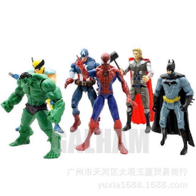 6X Marvel Hulk+Captain+Wolverine+Batman+Spiderman Figure Collection Kids Action Figure Toys Robot WJ424