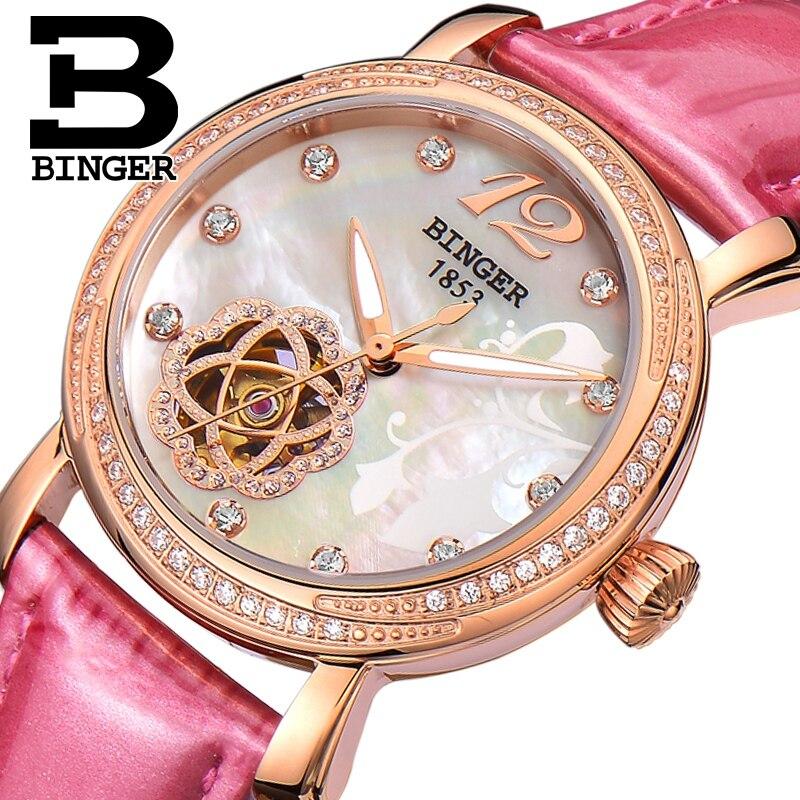 Genuino Donne di Marca Svizzera BINGER meccanico automatico self-vento orologio zaffiro regina femminile oro rosa diamante impermeabile