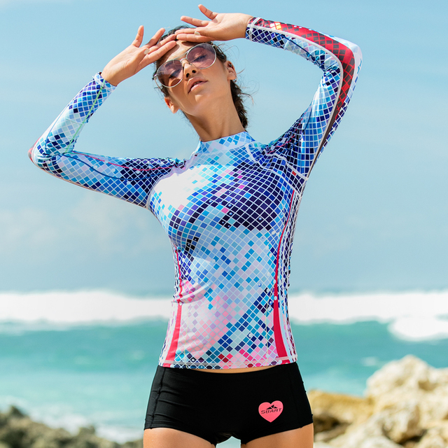 SBART 2017 wetsuit split female swimsuit outdoor surfing jacket sun suits fast drying clothes female swimwear female T-shirt
