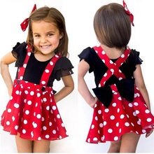 Girl Baby Birthday Clothes Cake Smash Outfit 3pcs Set Polka Dot Suspender Dress Romper cute Minnie Mickey Mouse for