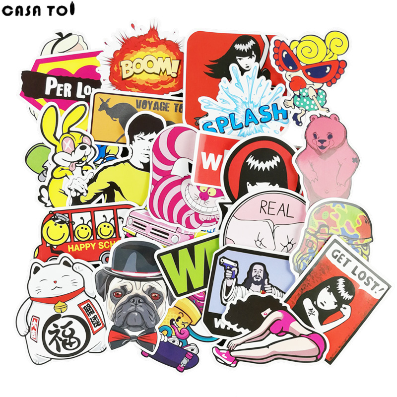50Pcs Cool PVC Waterproof Wall Sticker Toy For Children Laptop Car Luggage Skateboard Chancery Motorcycle Stationery Stickers