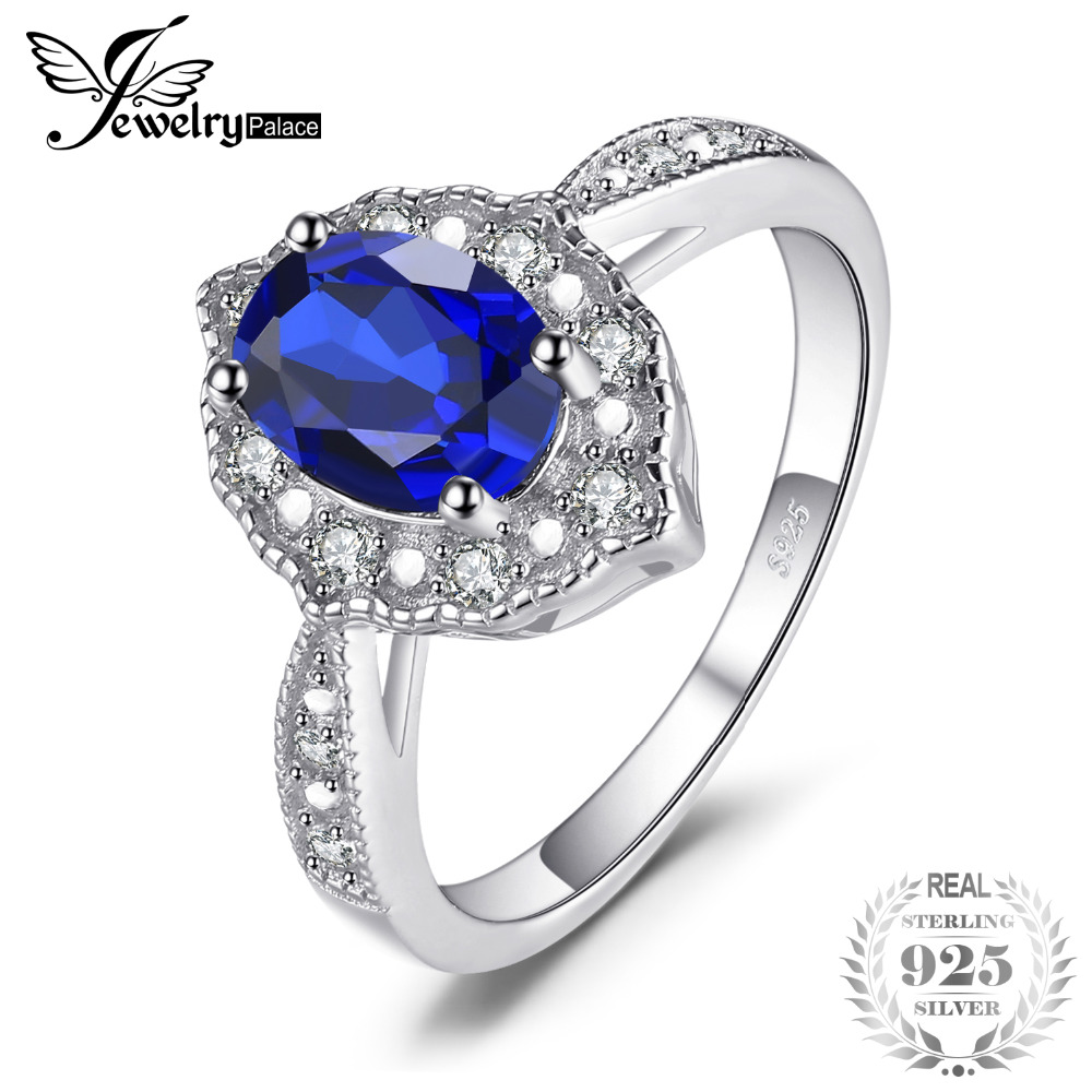 Vintage 1.9ct Oval Created Sapphire Engagement Rings For Women 100% 925 Sterling Silver Brand Fashion Fine Jewelry