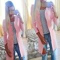 Женская мода симпатичные конфеты цвет долго пальто два кармана пальто дамы свободные повседневная пиджаки однобортный плащ