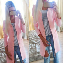Fashion Women cute candy color long trench coat two pockets coat ladies loose casual outwear single