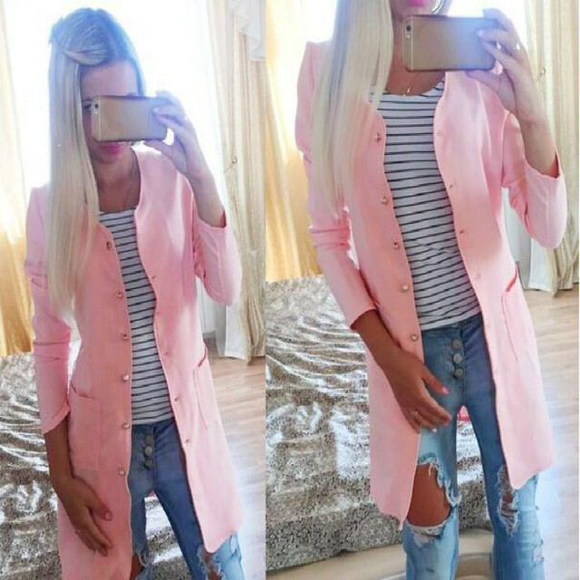 Fashion Women cute candy color long trench coat two pockets coat ladies loose casual outwear single-breasted trenchcoat