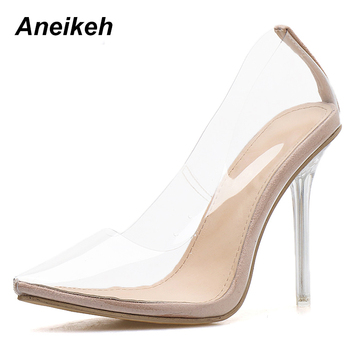 Aneikeh 2020 Concise Fashion PVC Woman Transparent Sandals Thin High Heels Shoes Pointed Toe Pumps Slip On Solid Apricot 35-42 1