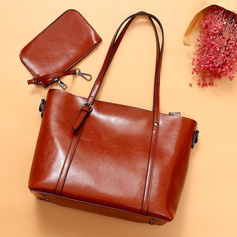 Naiste nahast käekotid kvaliteetne õlakott Naine Top-käepide kotid - Käekotid - Foto 2