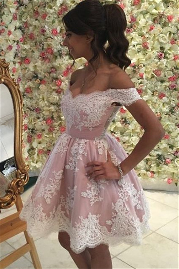 Pink Homecoming Dresses A-line Off The Shoulder Short Mini Appliques Lace Elegant Cocktail Dresses