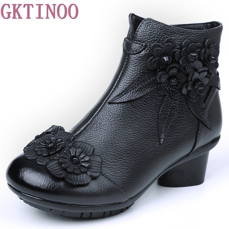 2018 Autumn Winter Women Genuine Leather Boots Casual Ladies Shoes Thick Heels Boots Push Large Size