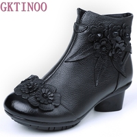 2018 Autumn Winter Women Genuine Leather Boots Casual Ladies Martin Shoes Thick Heels Boots Push Large