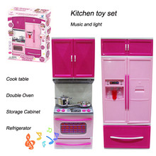 Hot Kids Kitchen toy led Light Stove Oven Refrigerator Cute Pink Plastic Educational Pretend kitchen toy set for Girl Children