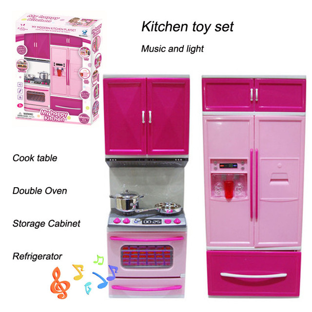 Hot Kids Kitchen Toy Led Light Stove Oven Refrigerator Cute Pink Plastic  Educational Pretend Kitchen Toy