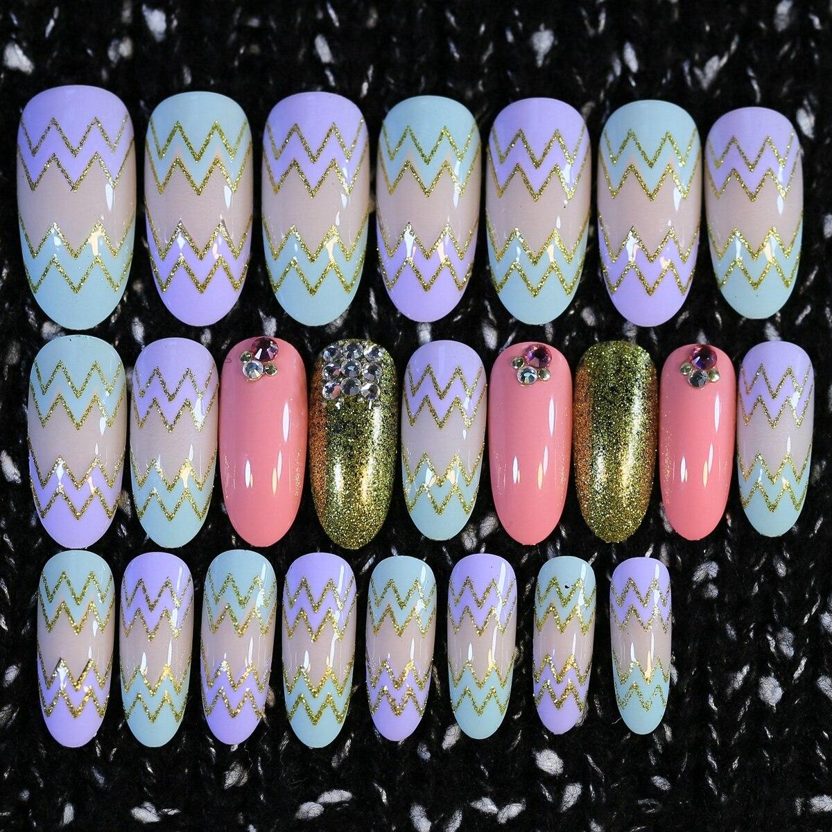 Aliexpress.com : Buy Round Long Fake Nails Sawtooth Glitter ...