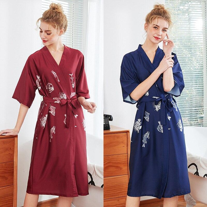 Frauen Seide Sexy Kimono Bademantel Knie Länge Brautjungfer Fisch Knochen Satin Bad Robe Rot Braut Dressing Kleid für Hochzeit Nachtwäsche