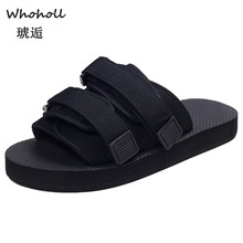 Whoholl Mens Slippers EVA Men Shoes Women Couple Flip Flops Soft Black Stripes Casual Summer Male Sandals Femme Beach 45
