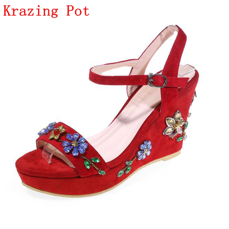2017 Brand Summer Shoes Runway Peep Toe Kid Suede Wedges Crystal Slingback Platform Women Sandals High Heel Red Classic Shoe L10 phyanic 2017 gladiator sandals gold silver shoes woman summer platform wedges glitters creepers casual women shoes phy3323