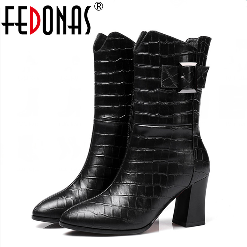 FEDONAS Fashion Women Boots High-Heeled Full Genuine Leather Motorcycle Boots Autumn Winter Warm Snow Martins Boots Shoes Woman fedonas russia women boots keep warm snow boots platforms winter mid calf boots fashion solid color high shoes woman white black