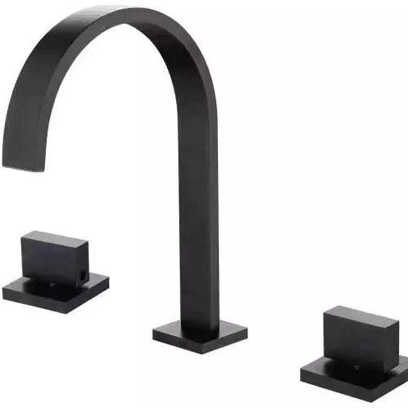 Robinet de lavabo en laiton noir/or/Chrome pont monté carré salle de bains évier mitigeur robinet 3 trous Double poignée robinet d'eau chaude et froide - 2