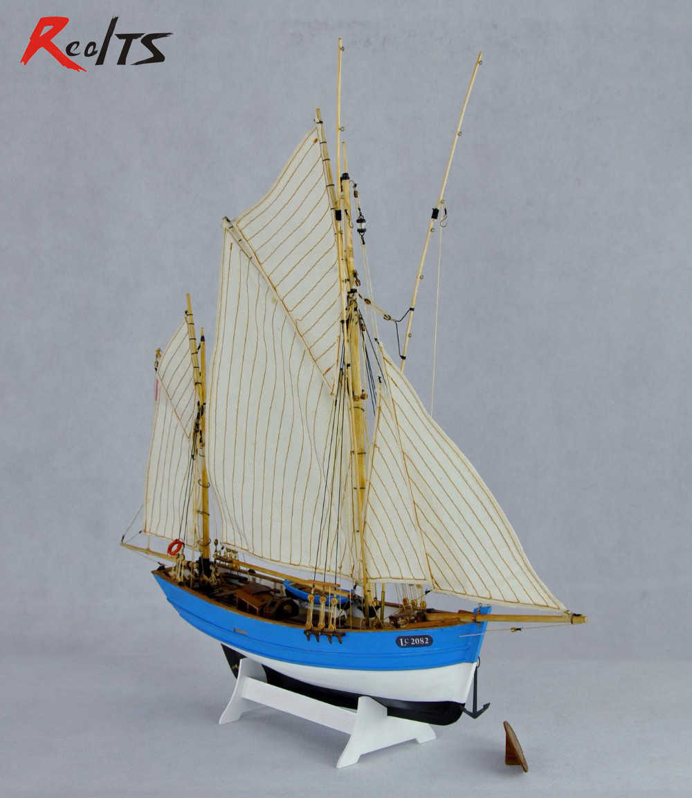 wood ship kit scale 1/50 French fishing boat kit wood sailing fishing ship model Lucy