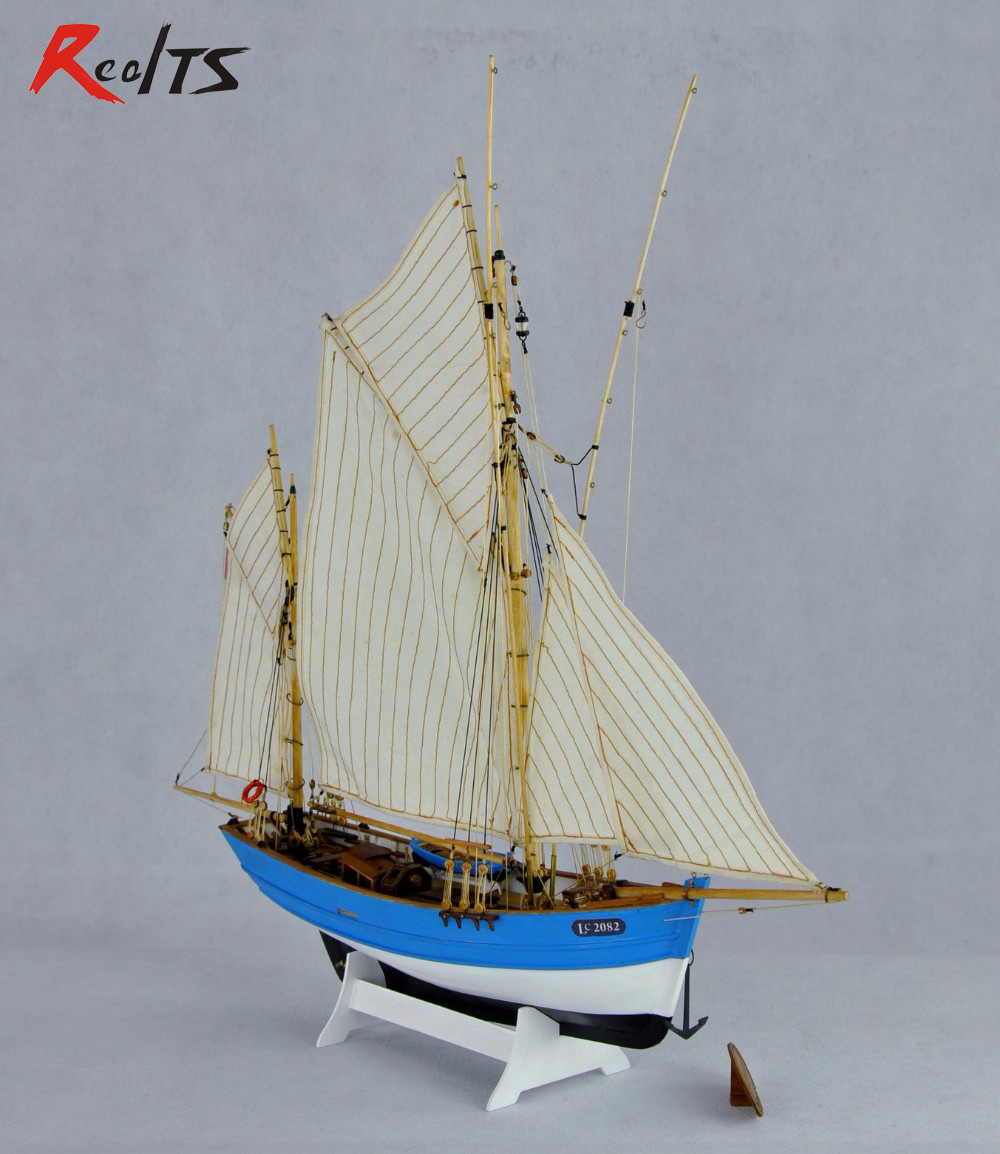 Wood Ship Kit Scale 1/50 French Fishing Boat Kit Wood Sailing Fishing Ship Model Lucy