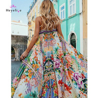 Sexy Bikinis Cover Up Hobo Dresses Floral Beach Cover Up Expansion Summer Dresses Women Split Beach Dress Long Beachwear