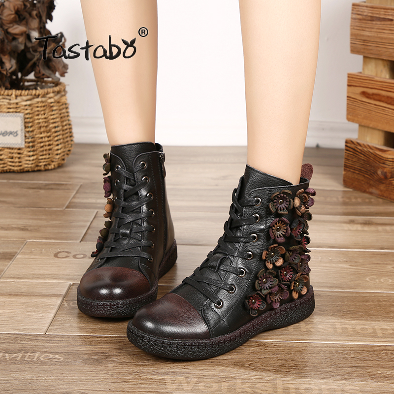 Tastabo Flower Ankle Boots for Women Winter Boots with Fur Classic Black Flat with Genuine Leather