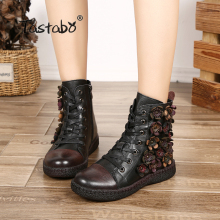 Tastabo Flower Ankle Boots for Women  Winter Boots with Fur Classic Black Flat with Genuine Leather Shoes Ladies Boots