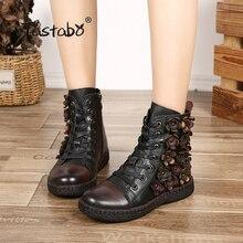 Tastabo פרח קרסול מגפי נשים חורף מגפיים עם פרווה קלאסי שחור שטוח עם אמיתי עור נעלי גבירותיי מגפיים