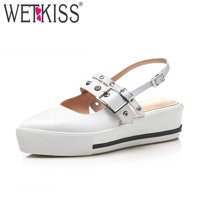 Wetkiss/из коровьей кожи повседневная обувь на высоком каблуке женские босоножки украшения из металла острый носок обувь на танкетке 2018 летние...