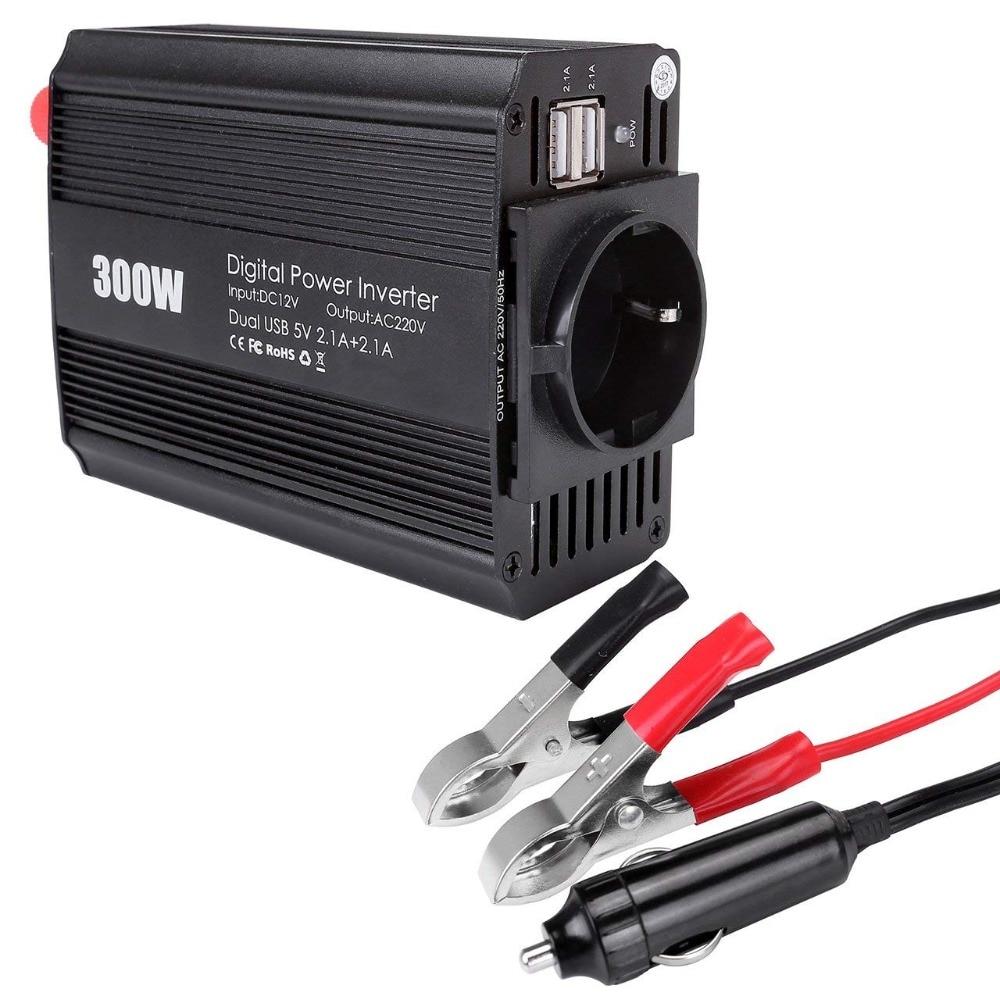 AC 110V Plug Adpater USB Charger 300W Car Power Converter Inverter 12V Max