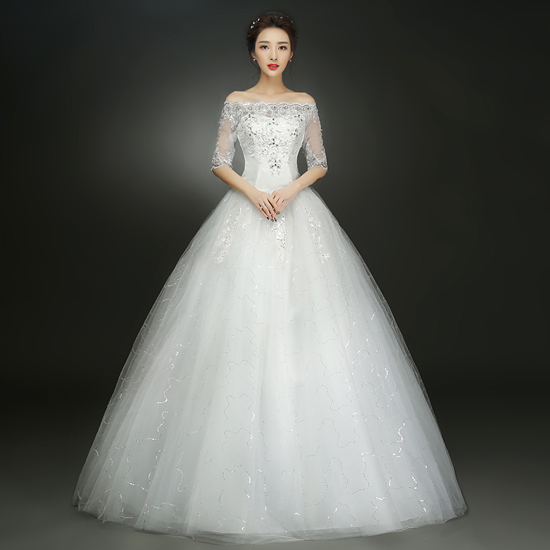 Lamya  Elegant  Wedding Dresses Lace Bridal Ball Gown Half Sleeves Tulle Wedding Dress Vintage Princess Wedding Dresses Gown