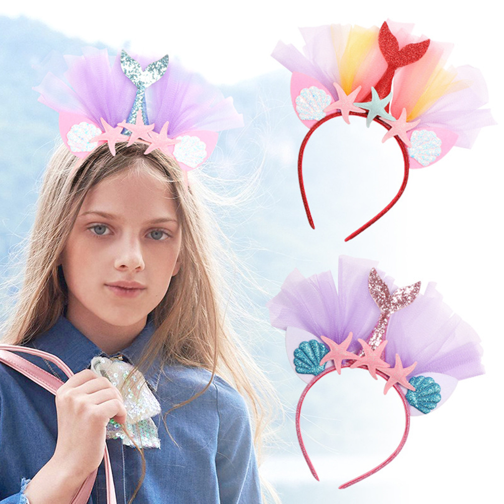 Oaoleer Hair Accessories Rainbow Mermaid Headband Princess Mesh Yarn Shell Flower Animal Hairbands Hoop Children Party