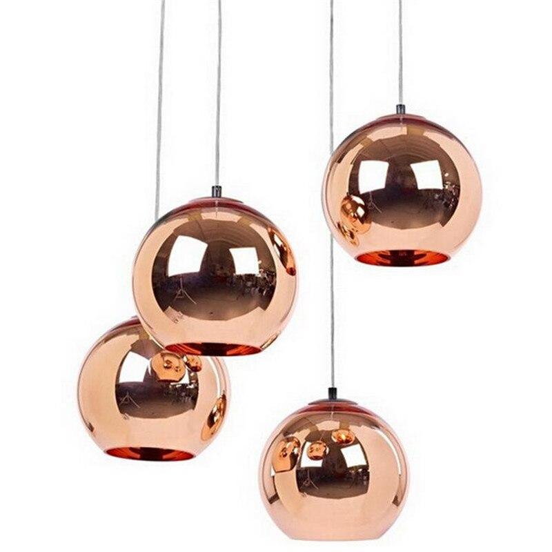 Vintage Loft Plated Copper Glass Ball E27 Pendant Lights for Restaurant Dining Room Lighting Fixture 15/20/25/30/35/40cm 1433 vintage loft simple handmade plated