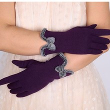 Autumn Winter Cute Bow Warm warmer Mitts Full Finger Mittens Women Cashmere Female Gloves Top  Fashion Women Gloves