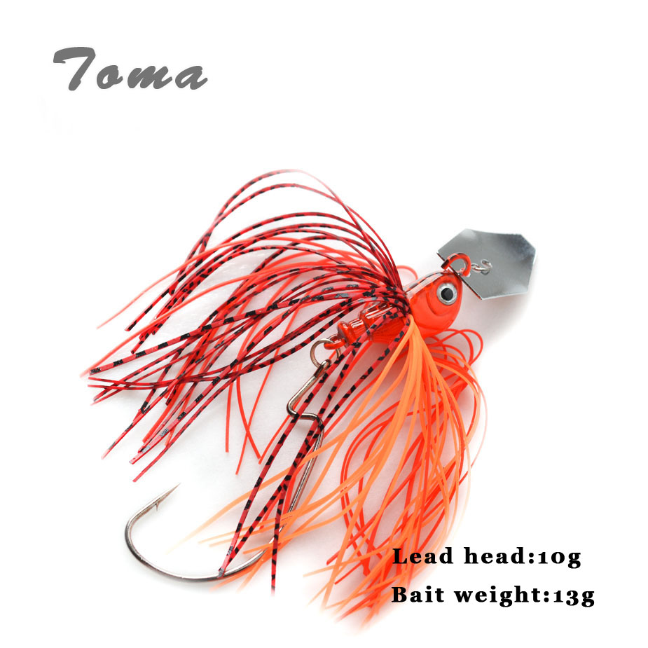 TOMA Brand Buzz Bait Fishing Lure Lead head 10g Fishing Bait Metal Spoons Spinner Bait with Crank Hooks Fishing Lures цена и фото