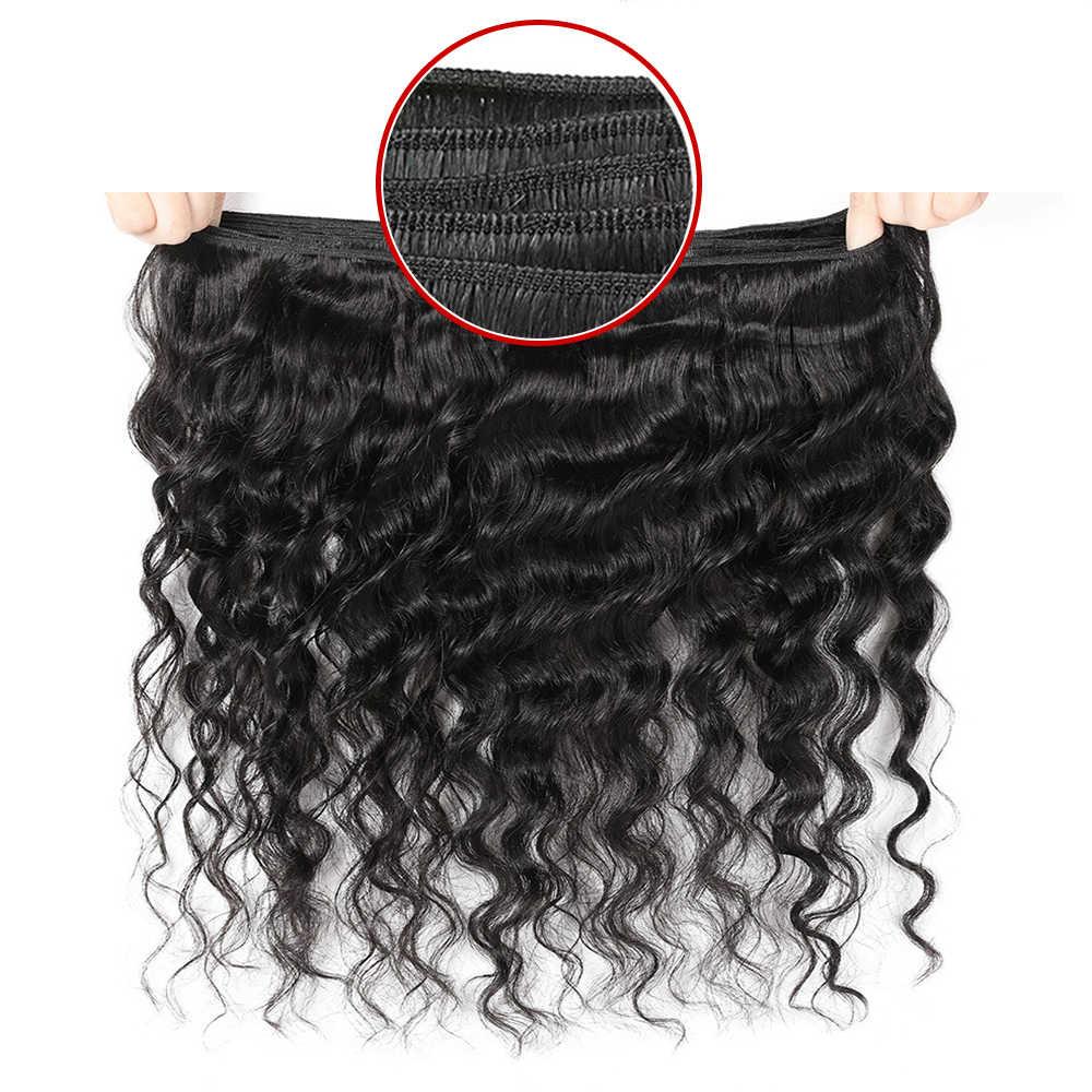 أنيق موجة عميقة الإنسان الشعر 3 حزم مع أمامي إغلاق شعر مموج داكن التمديد ضفيرة شعر برازيلي حزم مع أمامي
