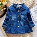 2016 лето воланами воротником с длинным рукавом девочки джинсовой блузка мода малыша девушка блузка blusas infantil для новорожденных