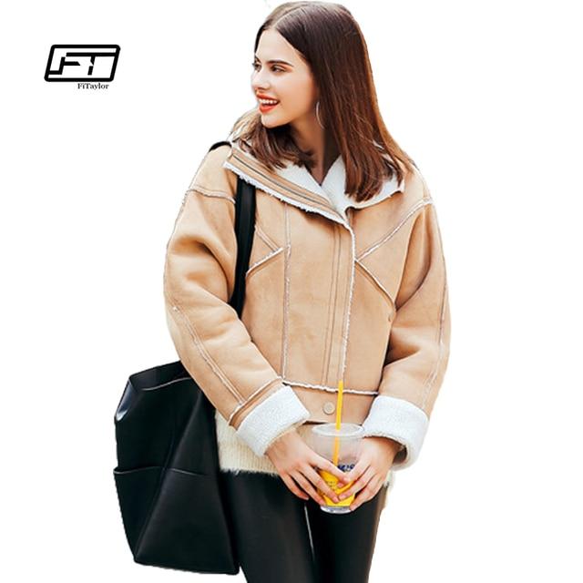 Fitaylor Shearling Sheepskin Coat Women Thick Suede Jackets Women ...