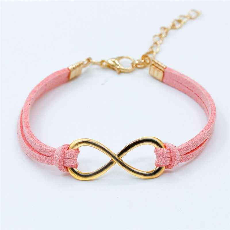L103 Hot European Cheap Punk Fashion Vintage Infinity 8 Cross Leather Bracelets For Women Gift Bangles Men Jewelry pulseras