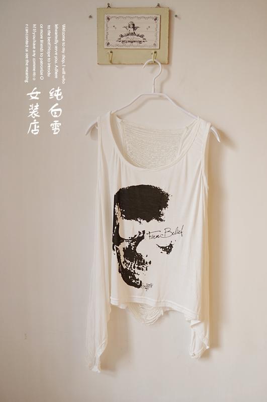 Camiseta sin mangas para mujer, blusa regata, corpiño para mujer, brandy melville, calado, Camiseta estampada con Calavera, chaleco de encaje para mujer F390 6