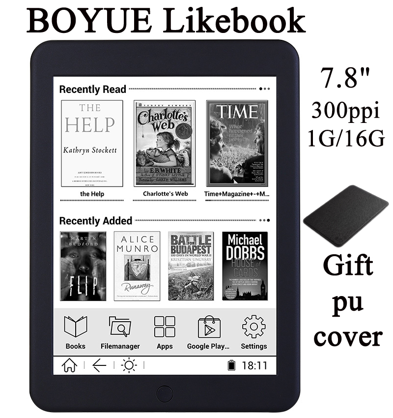 BOYUE Likebook Plus reader 7.8 inch Carta Screen 300PPI 1404*1872 16G Touch ANDROID online reading 2800mAh wifi bluetooth