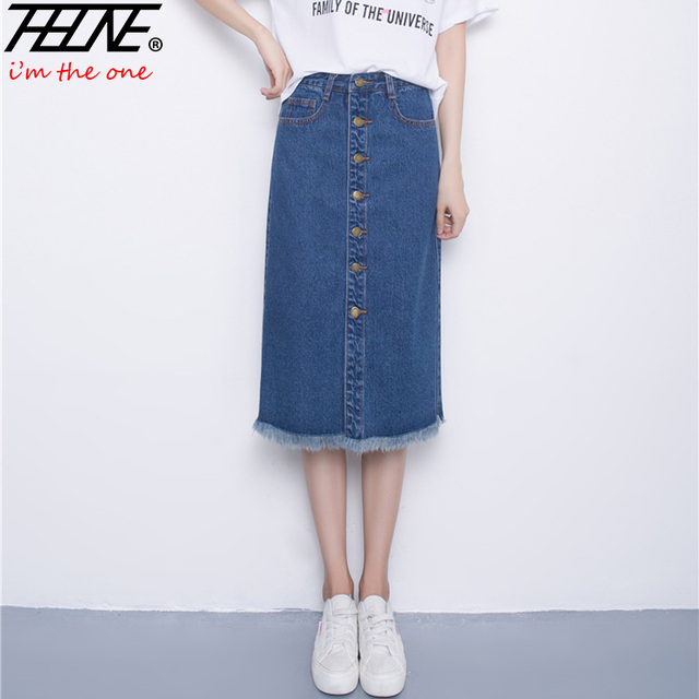 0ff36e867704 THHONE Denim Skirts Womens Knee Length Midi Button Up Tassel High Waist  Faldas Mujer Slim Hip Jeans Summer Women Skirt Long