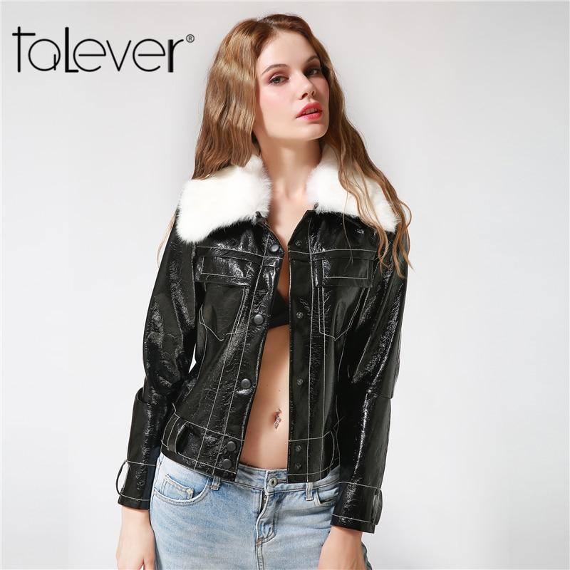 2017 New Autumn Women Fashion Zipper Faux Fur Collar Warm Coat Covered Button Black   Leather   Jacket Female Formal Outerwear Coat