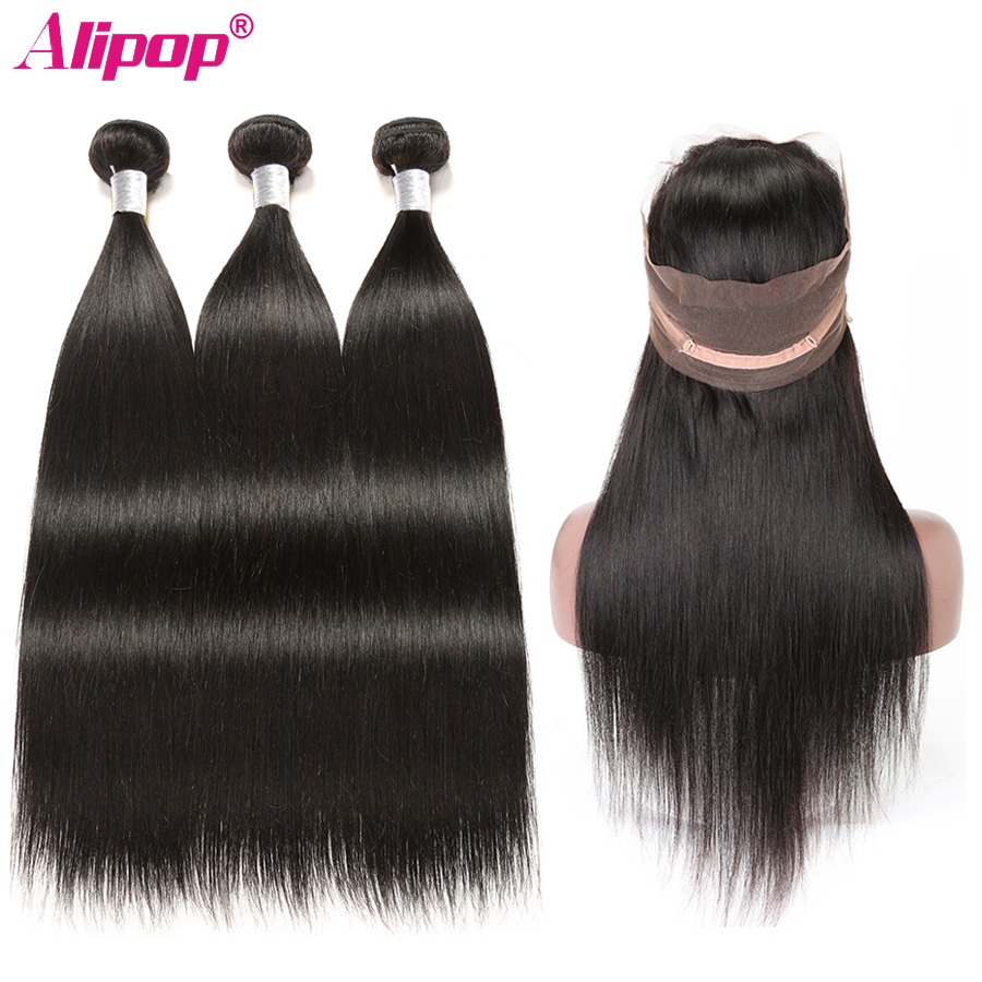 360 Lace Frontal With Bundles Straight Peruvian Hair Bundles With Closure Remy Human Hair Weave 3
