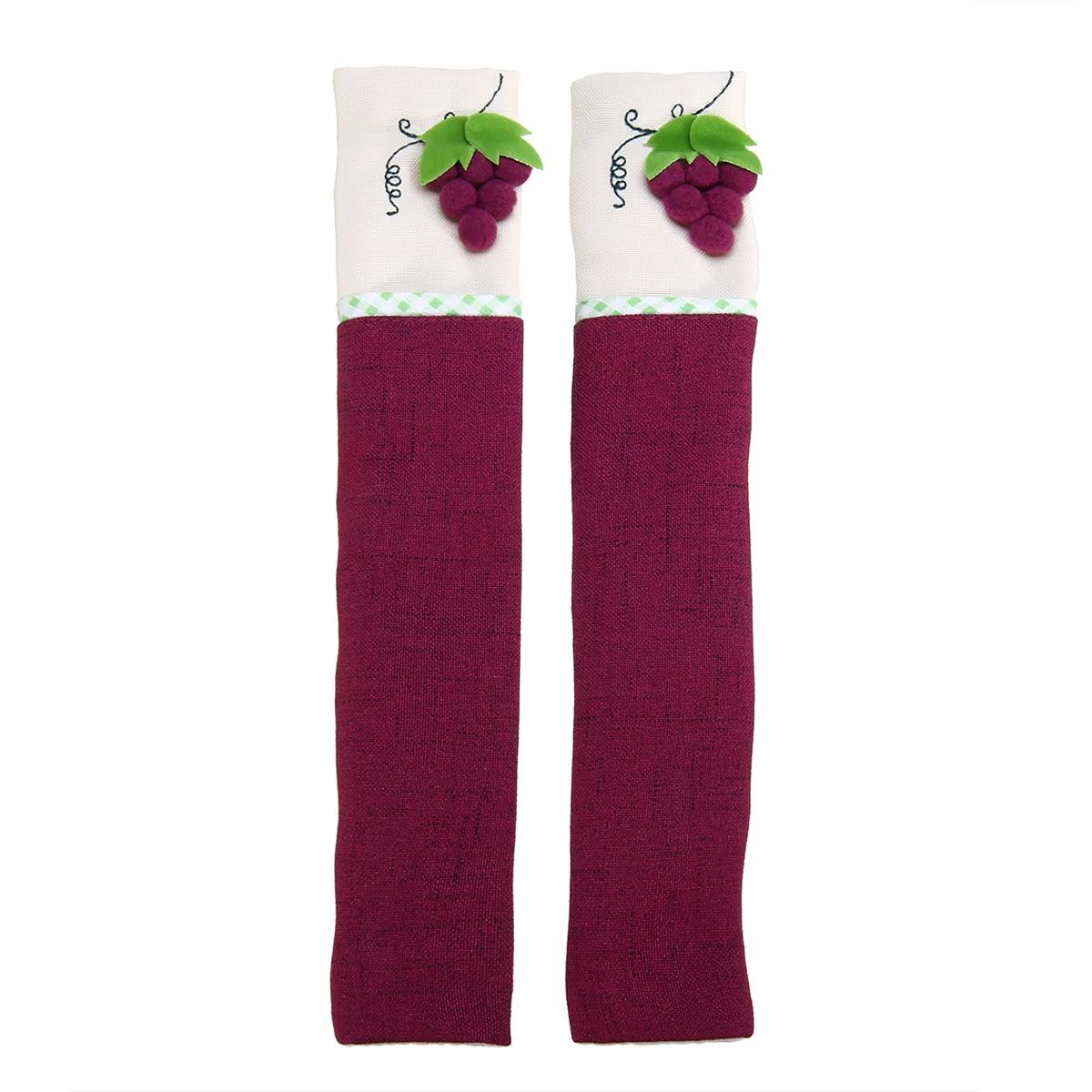 1Pair Refrigerator Handle Covers Purple Handle Wraps Cotton Linen Handle Protector 26 x 12cm for Kitchen Appliance