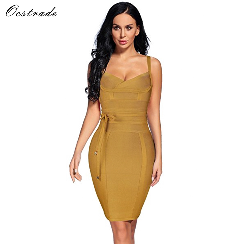 Ocstrade Women Bandage Dress 19 Rayon Sleeveless Summer New Arrivals Sexy Deep v Neck Vestido Bodycon Bandage Dress Club Party 10