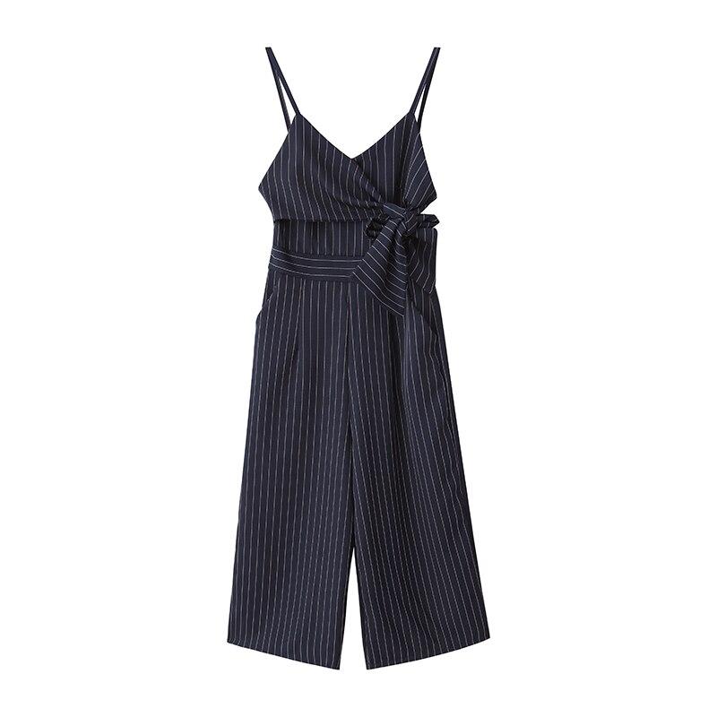 Sling Off Shoulder Sleeveless Striped Jumpsuit 2019 New Fashion V-Neck High Waist Nine Points Wide Leg Jumpsuit Summer 5