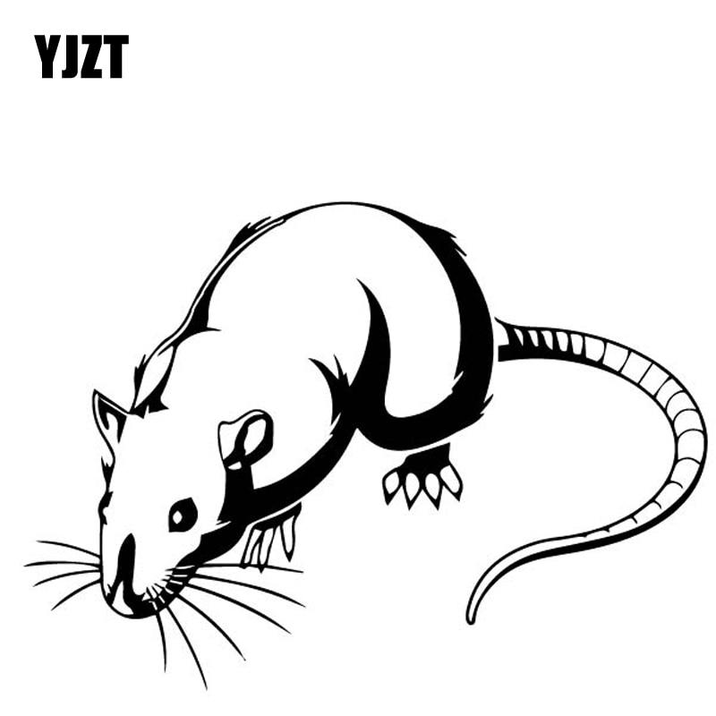 YJZT 16.4CM*11.7CM Cartoon Rat Decor Car Stickers Vinyl Decal Car Trunk Accessories Black/Silver C4-1229