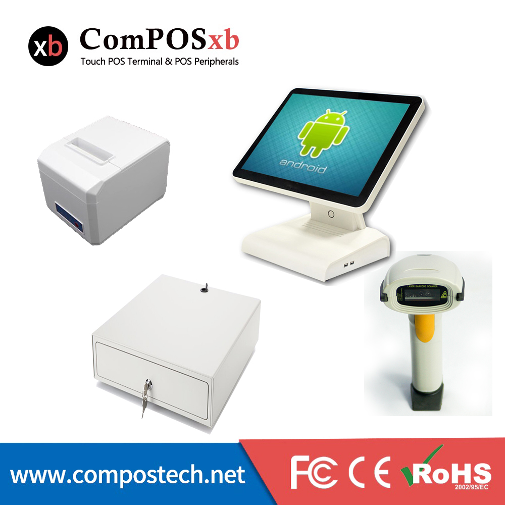 ComPOSxb Android 15 inch touch screen Computer monitor Pos System With printer and cash box Supermarket receipt POS6615 mems computer vision and robotic manipulation system