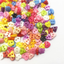 1000pcs 6mm Plastic Heart Round Star Flower Square Mixed Mini Buttons Sewing 2 Holes Tiny Doll Clothes Button For Scrapbooking